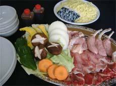 バーベキュー食材の内容(写真は、3人前)
